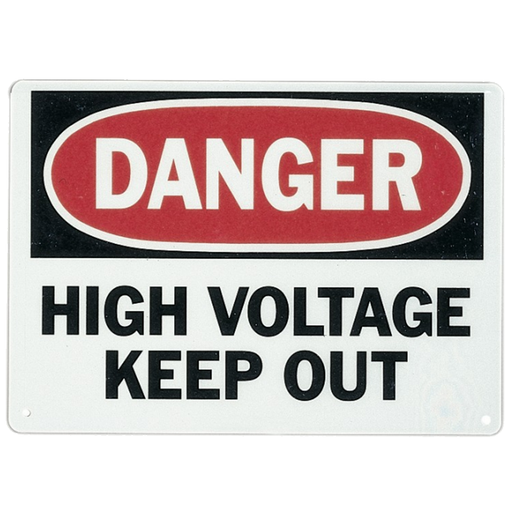 "Ideal 44-880 Safety Sign, ""Danger High Voltage Keep Out"", Fiberglass"