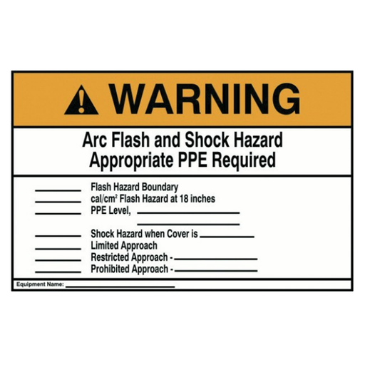 "Ideal 44-896 Warning Label, Nec Arc Flash, 7"" x 10"", Adhesive"