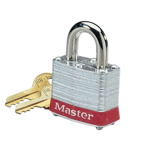 "Ideal 44-907 Padlock, Steel, 2"" Shackle, Red Bumper"