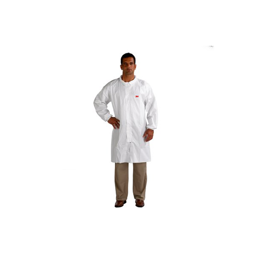 3M 4440-L White Polypropylene Disposable Lab Coat
