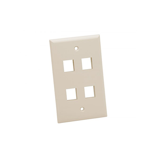 Platinum Tools 604LA-25 Wall Plate, Standard, 4 Port, Light Almond25 Piece/Installer Pack