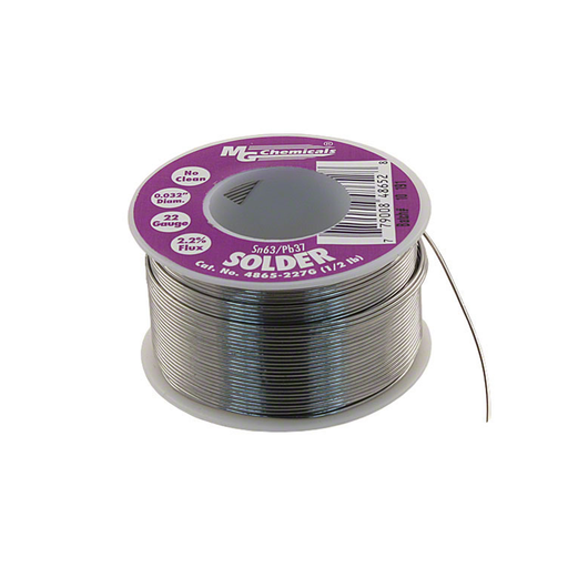 "MG Chemicals 4865-227G 4860 Series Sn63/Pb37 No Clean Leaded Solder 0.032"" Diameter 1/2 lbs Spool"