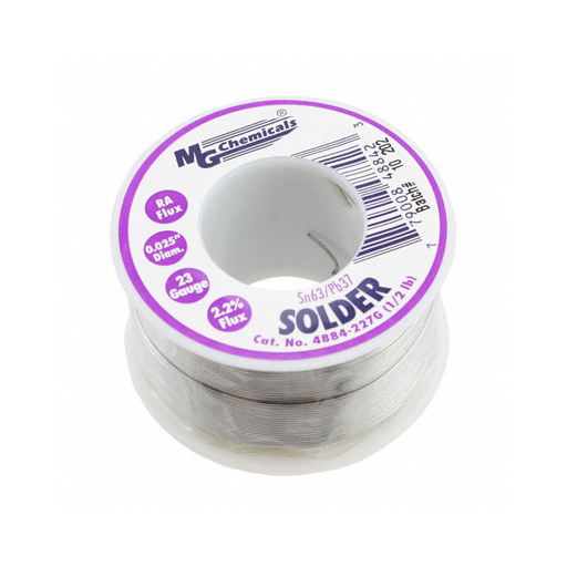 "MG Chemicals 4884-227G 4880 Series, Sn63/Pb37 Rosin Core Leaded Solder 0.025"" Diameter 1/2 lbs Spool"