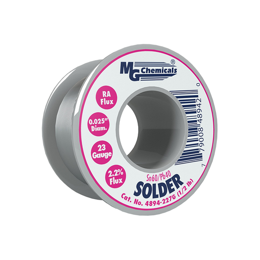 "MG Chemicals 4894-227G Sn60/Pb40 Rosin Core Leaded Solder 0.025"" Diameter 1/2 lbs Spool"