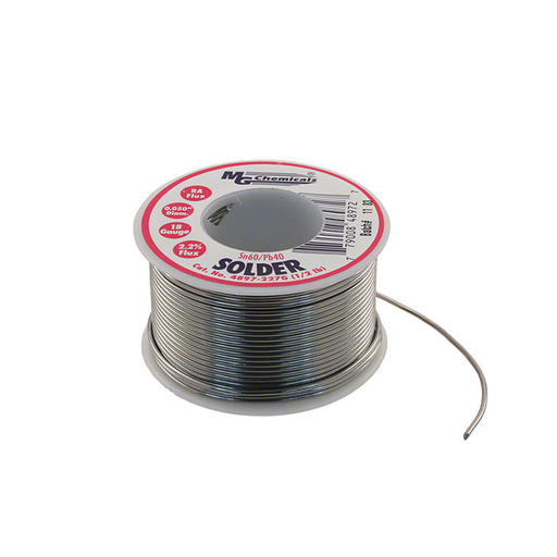"MG Chemicals 4897-227G Sn60/Pb40 Rosin Core Leaded Solder 0.05"" Diameter 1/2 lbs Spool"