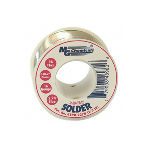 "MG Chemicals 4898-454G Sn60/Pb40 Rosin Core Leaded Solder, 0.062"" Diameter, 1 lbs Spool"
