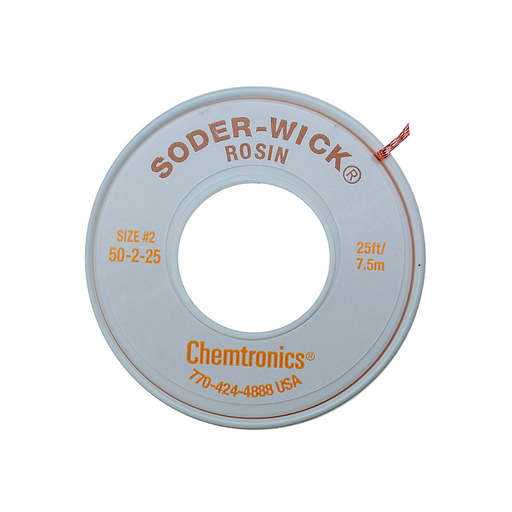 "Chemtronics 50-2-25 SODER-WICK Rosin Desoldering Braid .060"", 25ft"
