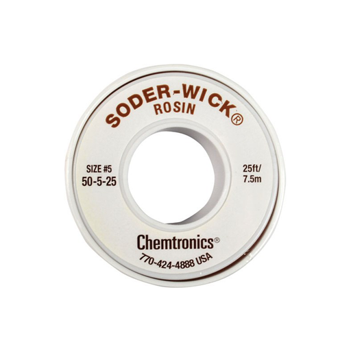 "Chemtronics 50-5-25 SODER-WICK Rosin Desoldering Braid, .145"", 25ft"