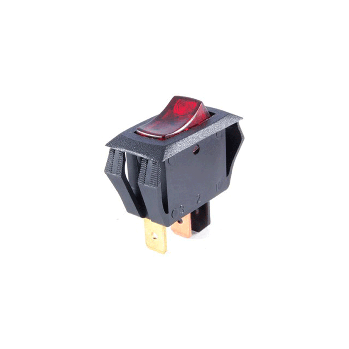 NTE Electronics 54-517 Red Lighted Curved Rocker Switch 16A
