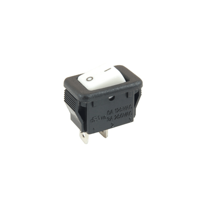 NTE Electronics 54-870 Rocker Switch SPST ON-NONE-OFF 6A 125VAC Micro-Snap-In White Actuator w/ Legend