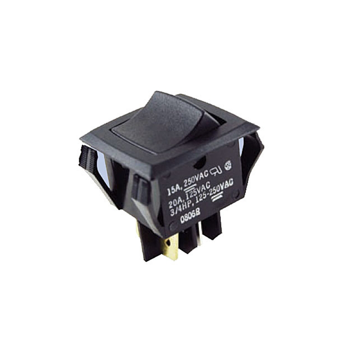 NTE Electronics 54-081 Nylon Miniature Snap-In Rocker Switch DPDT Circuit OFF-NONE-ON 20 Amp 125VAC