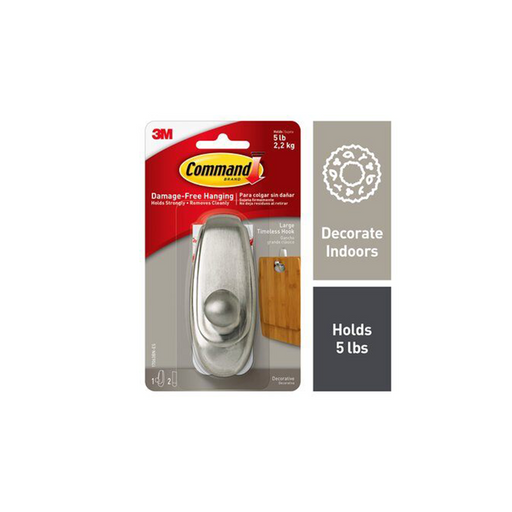 Command Timeless Hook 17063BN-ES, Large Brushed Nickel