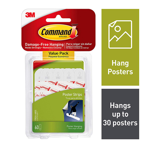 Command Poster Strips, Value Pack 60 strips, 17024-60ES