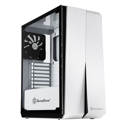 SilverStone Technology ATX Computer Case with Full Tempered-Glass Side Panel in White with Blue LEDs RL07W-G