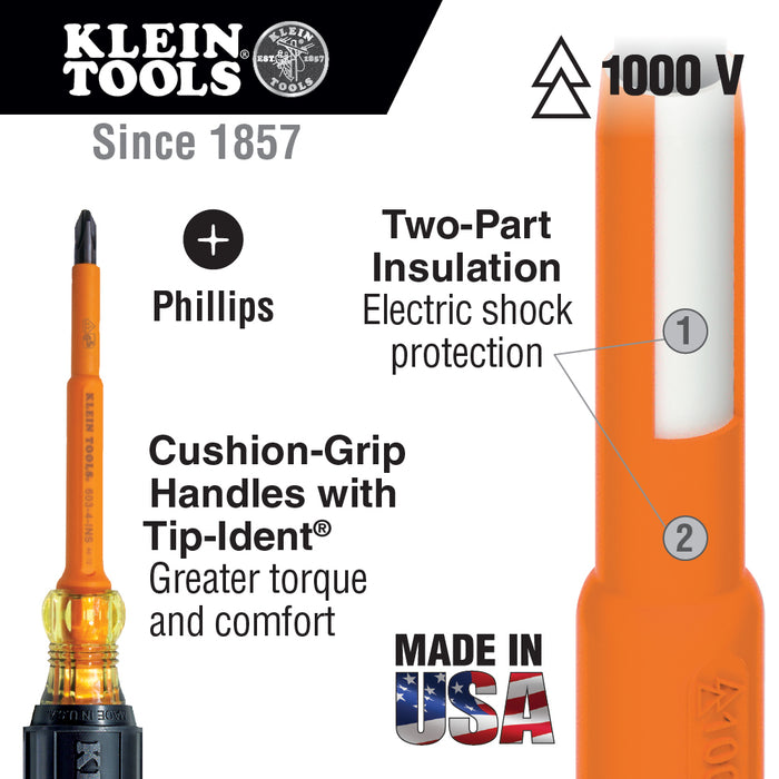 Klein Tools 603-4-INS Insulated #2 Phillips 4'' Shank Screwdriver