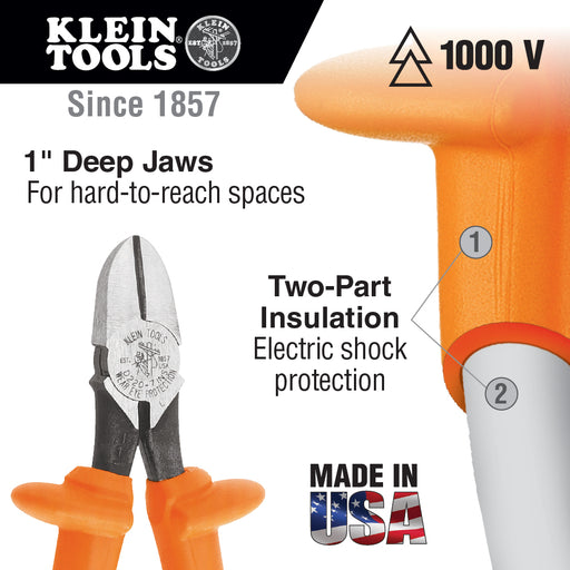 "Klein Tools D220-7-INS 7"" Insulated Heavy-Duty Diagonal-Cutting Pliers"