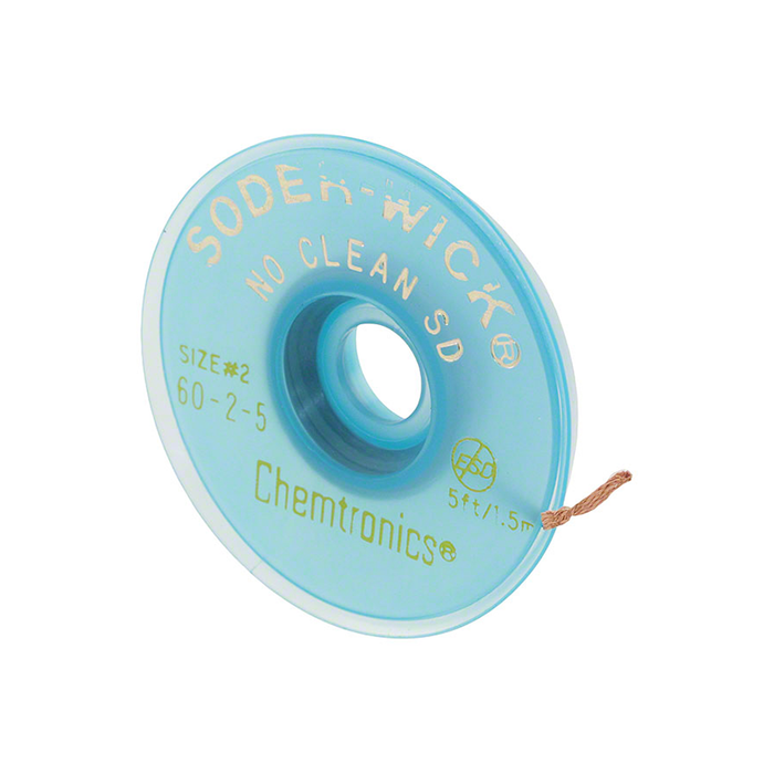 "Chemtronics 60-2-5 SODER-WICK No Clean Desoldering Braid, .060"", 5ft on ESD Safe Spool"