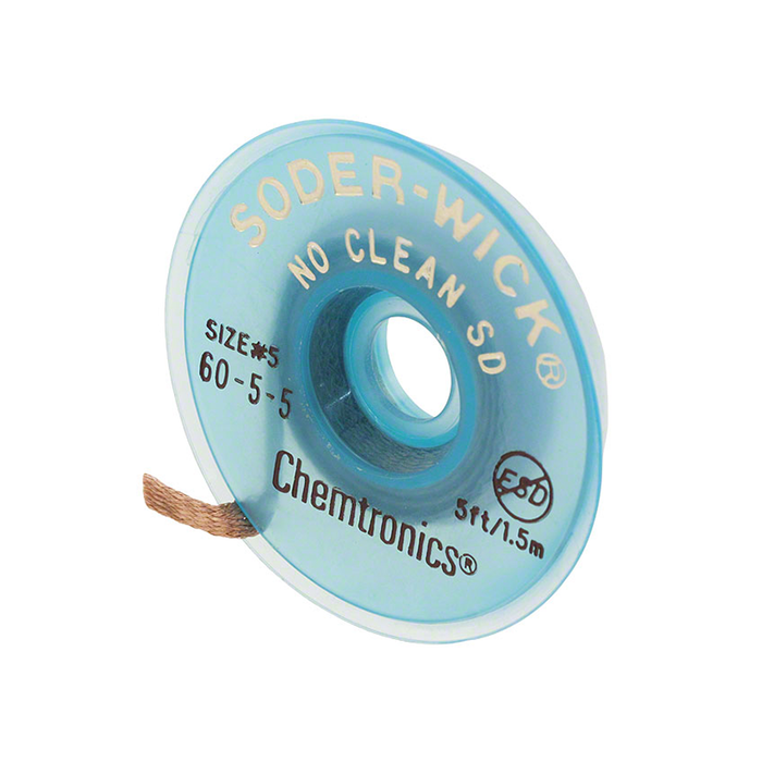 Chemtronics 60-5-5 SODER-WICK No Clean Desoldering Braid .145 inch, 5ft on ESD Safe Spool