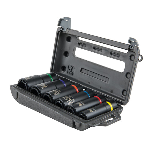 Klein Tools 66010 Socket Set, Impact Socket Set, High-Torque Deep Sockets, 12-Point, 1/2-Inch Drive, with Carrying Case