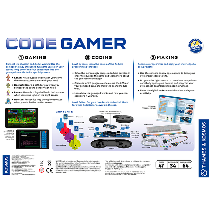 Thames and Kosmos 620141 Code Gamer Coding Workshop and Game (iOS and Android Compatible)