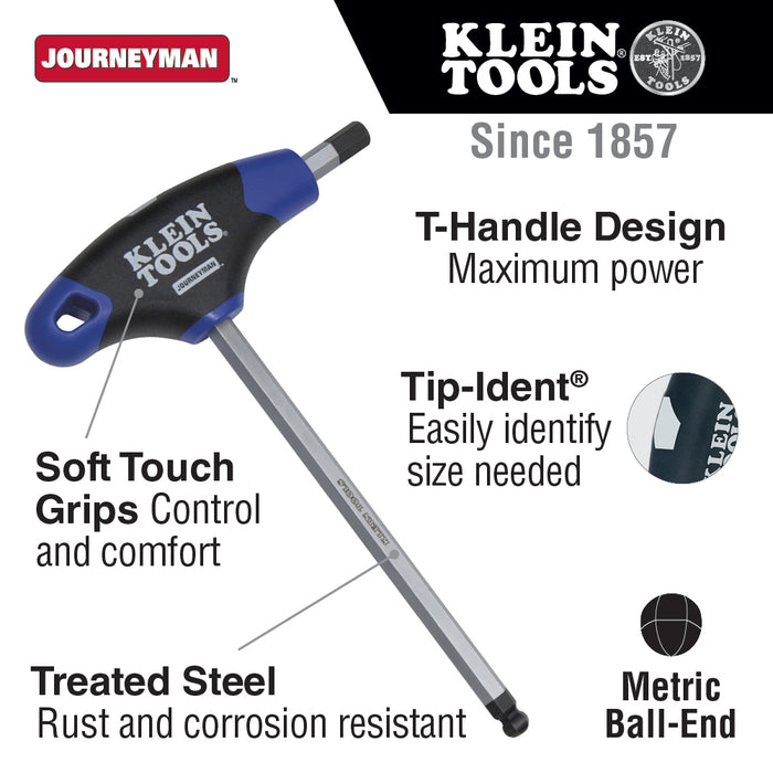 Klein Tools JTH6M3BE 3 mm Ball End Hex Key, Journeyman T-Handle, 6-Inch