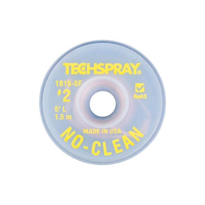 Techspray 1815-5F Desoldering Braid, No-Clean, Advanced Braid Design