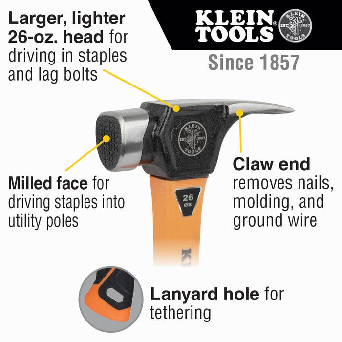 Klein Tools 832-26 Lineman's Claw Milled Hammer