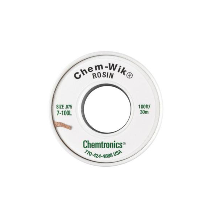 "Chemtronics 7-100L Chem-Wik Desoldering Braid .075"", 100ft"