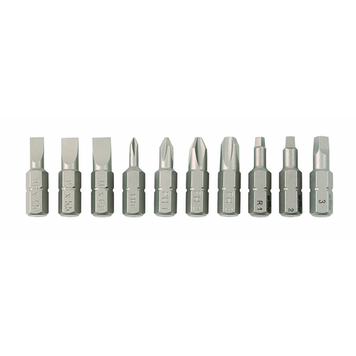Wiha 72593 Slotted/Phillips/Square Insert Bit Set, 10 Piece