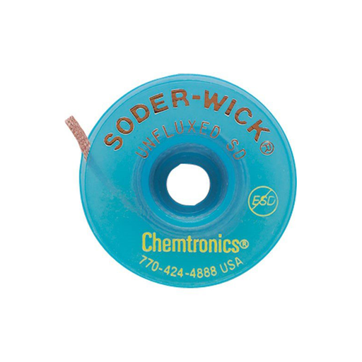 "Chemtronics 75-4-10 Soder-Wick Unfluxed Desoldering Braid 0.110"" x 10' on Blue ESD-Safe Spool"