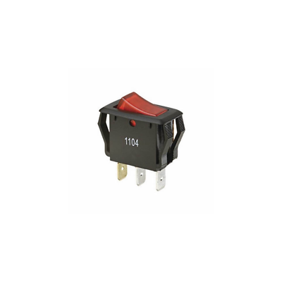 Ideal 774039 Rocker Switch, SPST, O-F, Spade, Red Lighted