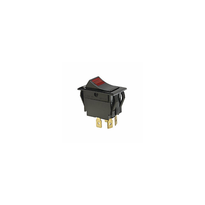 Ideal 774056 Rocker Switch, Red Light, DPST, On-Off, Spade