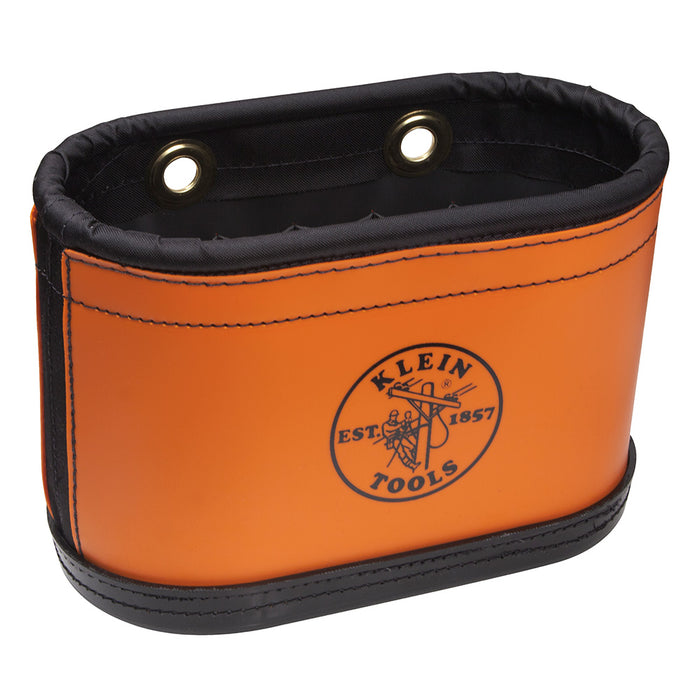 Klein Tools 5144BHB 15-Pocket Number 6 Canvas Oval Aerial Bucket with Orange PVC Wrap without Hooks