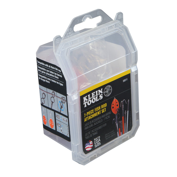 Klein Tools 56511 Splinter Guard Wire Fish Rod and Glow Rod Attachment Set with Double-S Hook and More 7-Piece