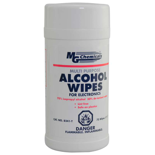 Mg Chemicals 8241-T Multi Purpose Alcohol Wipes, 75 Wipes