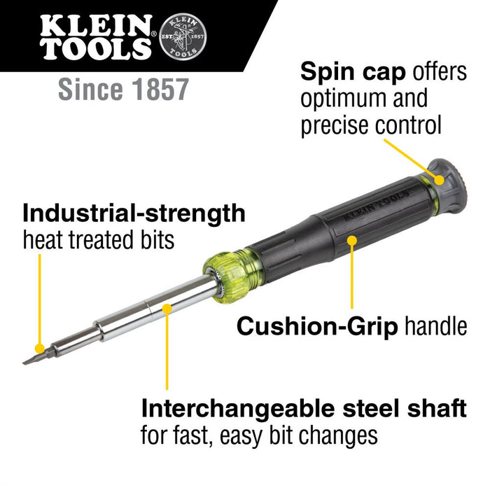 Klein Tools 32314 Electronic Screwdriver, 14-in-1 with 8 Precision Tips, Slotted, Phillips, and Tamperproof TORX Bits, 6 Precision Nut Drivers