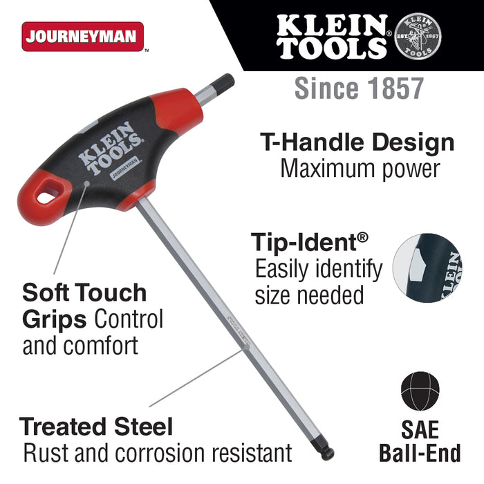 Klein Tools JTH6E13BE 1/4-Inch Ball End Hex Key, T-Handle, 6-Inch