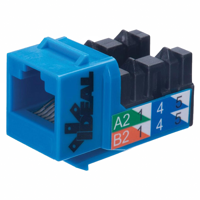 Ideal 89-760BU CAT6 250MHz 8P8C Keystone Jack - Blue, 5/Pack