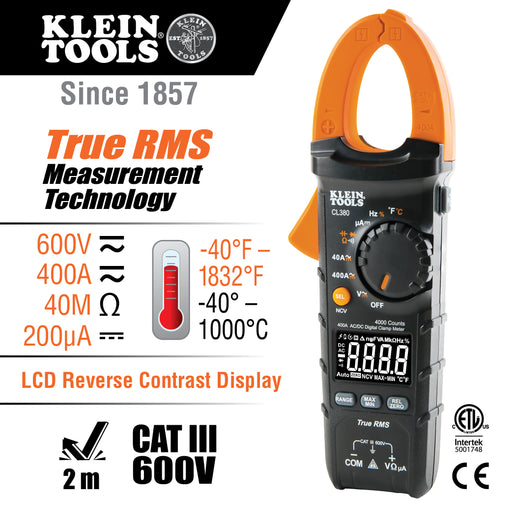 Klein Tools CL380 Digital Clamp Meter, AC/DC 400A, Auto-Ranging