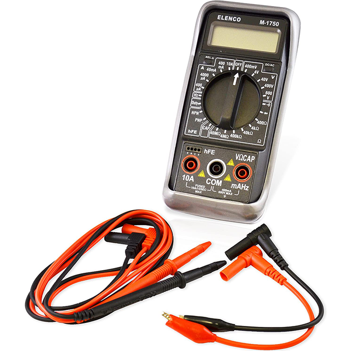 Elenco M-1750 Multimeters 3 1/2 Digit Cap./ Freq./ Trans. w/ Grey Boot