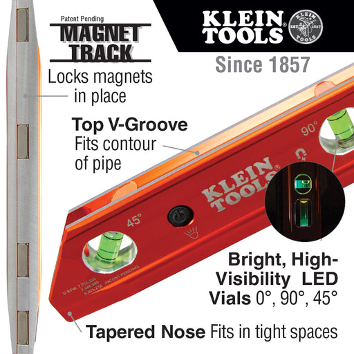 Klein Tools 935RBLT Lighted Torpedo Billet Level