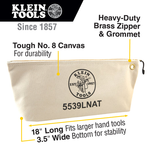 Klein Tools 5539LNAT Canvas Zipper Pouch, 16-Inch Tool Bag Storage Organizer, Natural