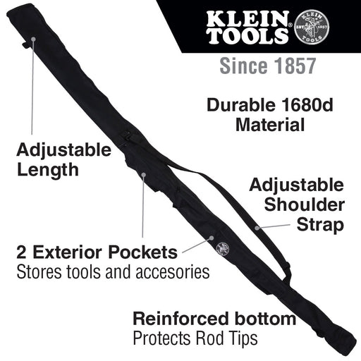 Klein Tools 56401 Carrying Bag for Fishing and Glow Rods, Adjustable to Fit up to 6-Foot Rods, 2 Side Pockets
