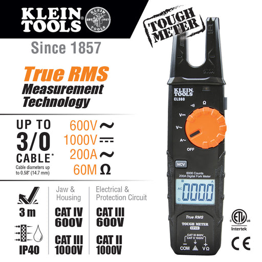 Klein Tools CL360 Open Jaw Fork Meter, AC Auto-Ranging 200 Amp