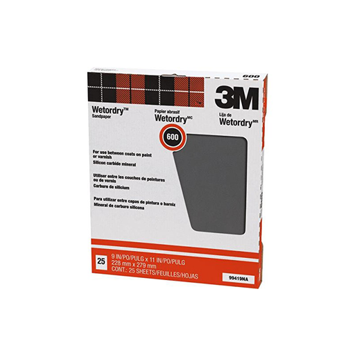 3M 99419 Wet-Or-Dry Sandpaper 600 Grit, 25 Sheets
