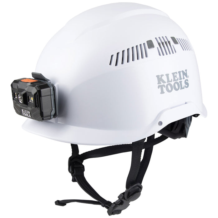 Klein Tools 60150 Safety Helmet, Vented-Class C, with Rechargeable Headlamp, White