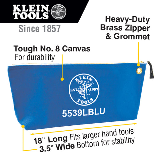 Klein Tools 5539LBLU Canvas Zipper Pouch, 16-Inch Tool Bag Storage Organizer, Blue