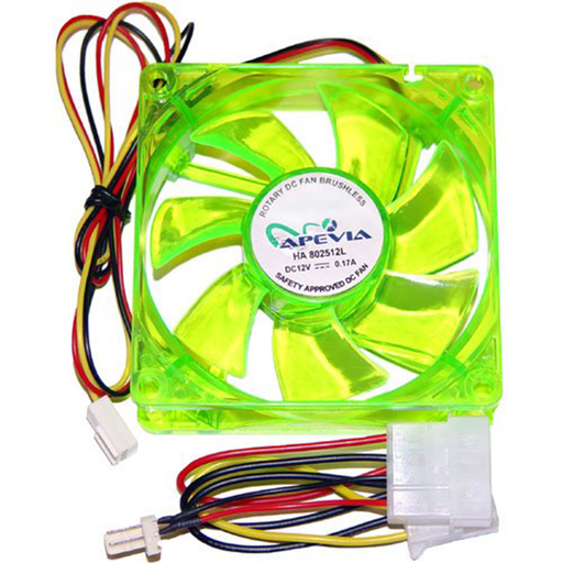 Apevia CF8S-UGN 80mm UV Green Case Fan