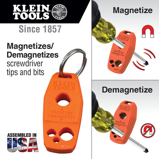 Klein Tools MAG2 Magnetizer and Demagnetizer for Screwdriver Bits and Tips, Makes Screwdrivers Magnetic with Powerful Rare-Earth Magnet