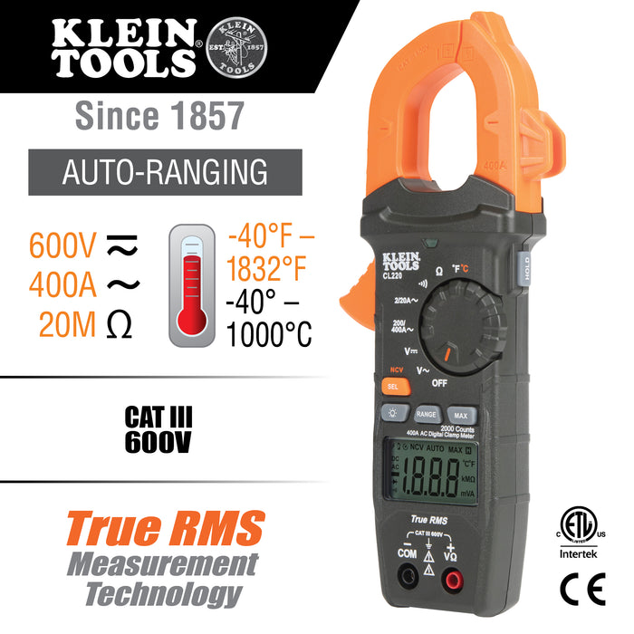 Klein Tools CL220 Digital Clamp Meter, AC Auto-Ranging 400 Amp with Temp